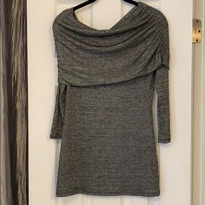 Off the shoulder Rib black and white 3/4 sweater